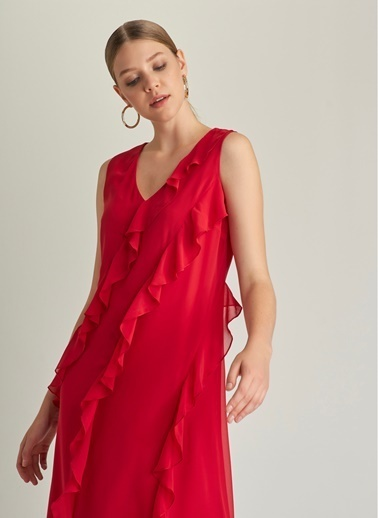 NGSTYLE Volan Detaylı V Yaka Elbise Kırmızı